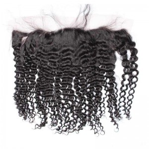 Kinky Curly Brazilian Virgin Hair Lace Frontal Closure 13x4inches Natural Color