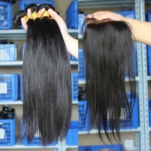 Mongolian Virgin Hair Silky Straight Free Part Lace Closure with 3pcs Weaves
