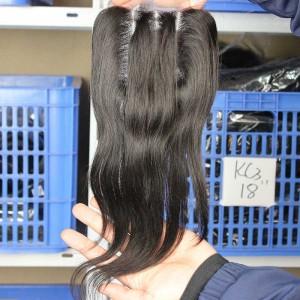 European Virgin Hair Silk Straight Three Part Lace Closure 4x4inches Natural Color