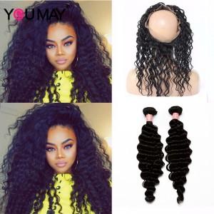 Deep Wave 360 Lace Frontal Closure With 2 Bundles Black Hair Color 360 Lace Virgin Hair