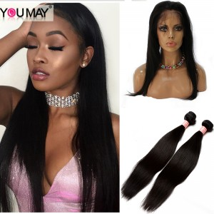 Straight 360 Lace Virgin Hair With 2 Bundles Human Hair Extensions Natural Black Hair Color