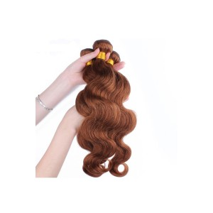 Color #30 Medium Brown Body Wave Peruvian Virgin Hair Weaves 3pcs Buddles