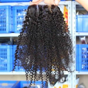 Malaysian Virgin Hair Afro Kinky Curly Three Part Lace Closure 4x4inches Natural Color