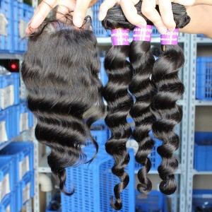 Indian Virgin Hair Loose Wave Middle Part Lace Closure with 3pcs Weaves