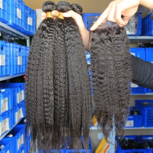 Peruvian Virgin Hair Kinky Straight Free Part Lace Closure with 3pcs Weaves