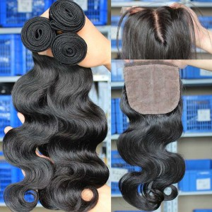 Brazilian Virgin Hair Body Wave 4X4inches Middle Part Silk Base Closure with 3pcs Weaves