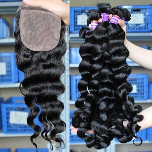 Indian Virgin Hair Loose Wave 4X4inches Three Part Silk Base Closure with 3pcs Weaves