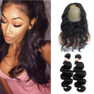 Body Wave 360 Lace Frontal With 2 Bundles Human Hair 360 Frontal Closure