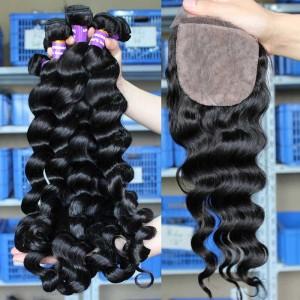 European Virgin Hair Loose Wave 4X4inches Three Part Silk Base Closure with 3pcs Weaves