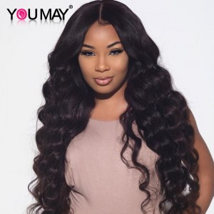 Brazilian Lace Front Ponytail Wigs Loose Wave Pre-Plucked Natural Hair Line 150% Density wigs No Shedding No Tangle