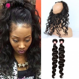 360 Lace Frontal With 2 Bundles Loose Wave 360 Lace Virgin Hair