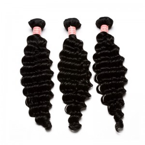 Natural Color Deep Wave Brazilian Virgin Human Hair Weave 3pcs Bundles