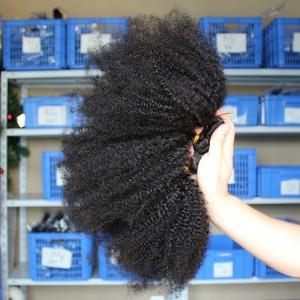 4 Bundles Malaysian Virgin Human Hair Weaves Afro Kinky Curly Natural Color