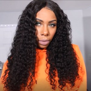 250% Density Wig Pre-Plucked Natural Hair Line Full Lace Human Hair Wigs Deep Curly Brazilian Lace Wigs