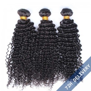 Natural Color Kinky Curly Hair Weaves Brazilian Virgin Human Hair 3 Bundles