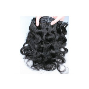 Body Wave Brazilian Virgin Hair Clip In Human Hair Extensions Natural Color