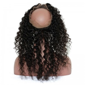 360 Frontal Deep Wave Natural Hairline Frontal Closure Brazilian Virgin Hair 360 Lace Band Closure
