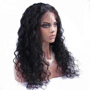 Natural Color Loose wave Brazilian Virgin Human Hair Glueless Full Lace Wigs