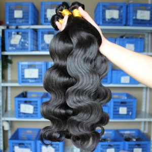 Natural Color Body Wave Peruvian Virgin Human Hair Weaves 4pcs Bundles
