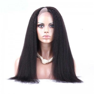 Brazilian Virgin Hair Kinky Straight U Part Full Lace Human Hair Wigs Natural Color
