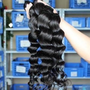 European Virgin Hair Loose Wave Hair Weaves 3 Bundles Natural Color