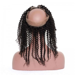 Brazilian Virgin Hair Natural Color Kinky Curly 360 Lace Frontal Band With Natural Hairline