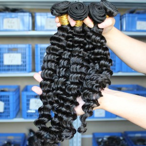 Natural Color Peruvian Virgin Human Hair Deep Wave Hair Weave 3 Bundles