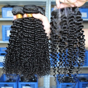 Peruvian Virgin Hair Kinky Curly Free Part Lace Closure with 3pcs Weaves