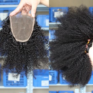 Malaysian Virgin Hair Afro Kinky Curly Three Part Lace Closure with 3pcs Weaves
