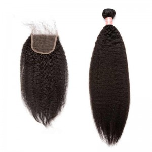 Brazilian Virgin Hair Kinky Straight Free Part Lace Closure with 4pcs Weaves