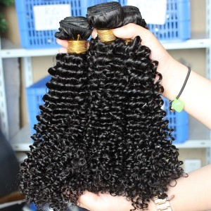 Natural Color Mongolian Kinky Curly Virgin Human Hair Weaves 3 Bundles
