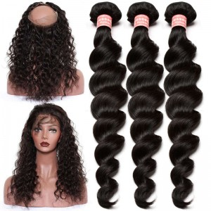 360 Lace Frontal Closure With 3 Bundles Loose Wave Brazilian Virgin Hair 360 Lace Band with Cap