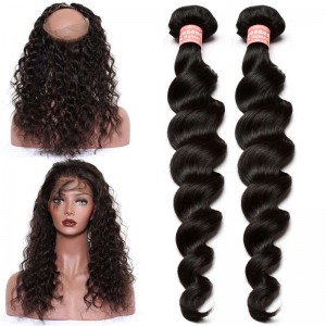 360 Lace Frontal with Cap Loose Wave Brazilian Virgin Hair Lace Frontals with Two Bundles