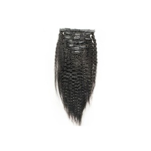 Kinky Straight Brazilian Virgin Hair Clip In Human Hair Extensions Natural Color