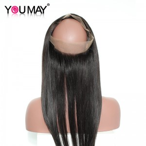 Silk Straight 360 Lace Frontal 360 Lace Virgin Hair With Baby Hair 22.5*4*2