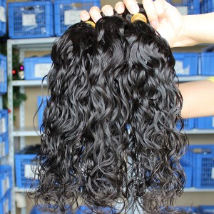 Natural Color Indian Remy Human Hair Extensions Weave Wet Wave 4 Bundles