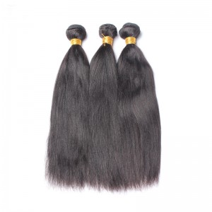 Italian Yaki Straight Brazilian Virgin Human Hair 3 Pcs/Lot Natural Color