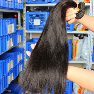 Mongolian Virgin Human Hair Yaki Straight Hair Weave Natural Color 3 Bundles