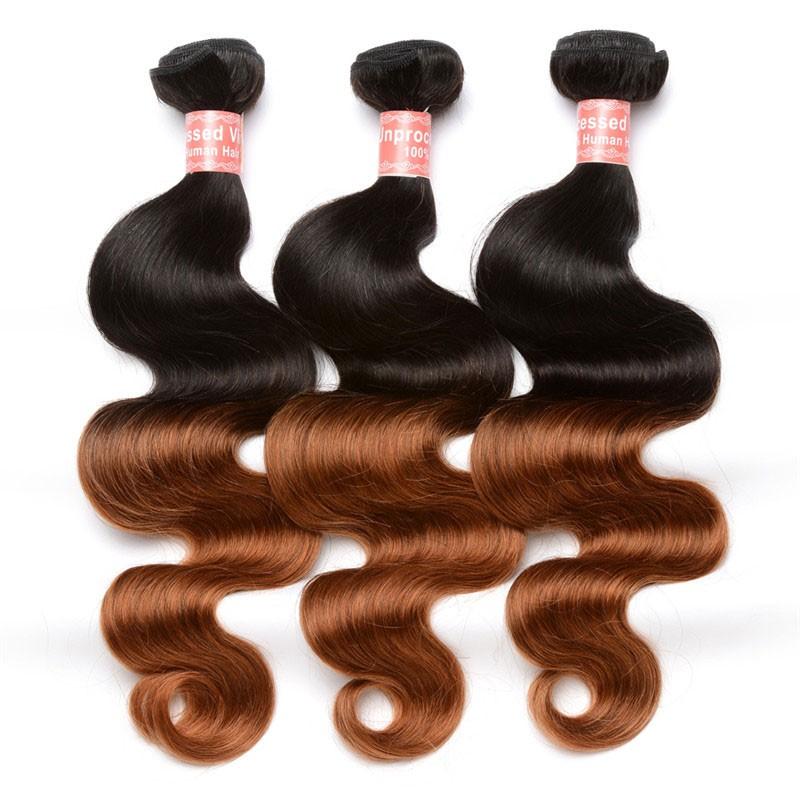 Body Wave 1b30 Ombre Color Brazilian Virgin Human Hair Weave 4