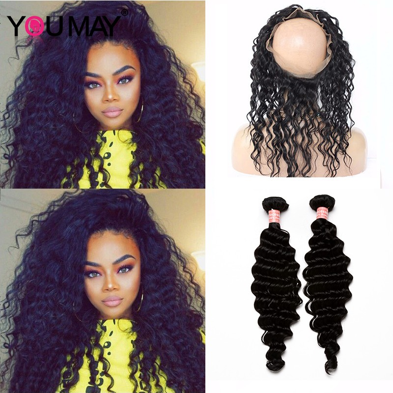 360 Lace Frontal Closure With 2 Bundles Black Hair Color Youmayhair