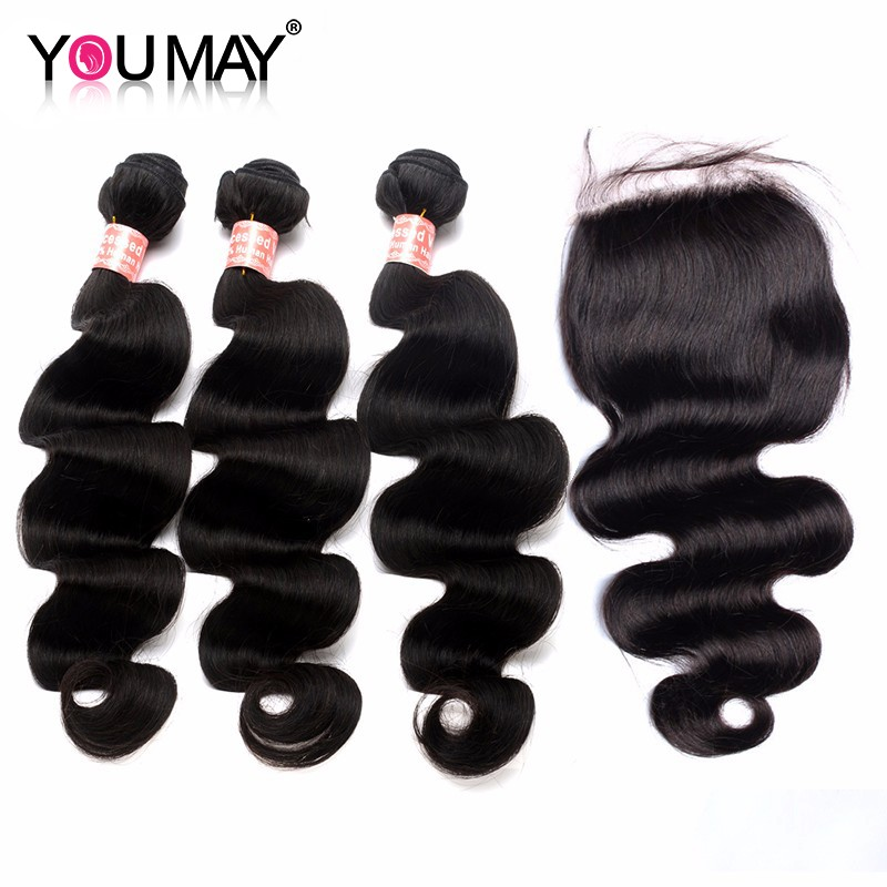 Body Wave 3 Bundles With 44 Lace Closure Human Hair Extensions With