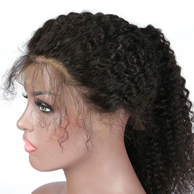 738e71c9c 130% Density High Quality Brazilian Virgin Hair Wig Kinky Curly Lace Front  Wigs