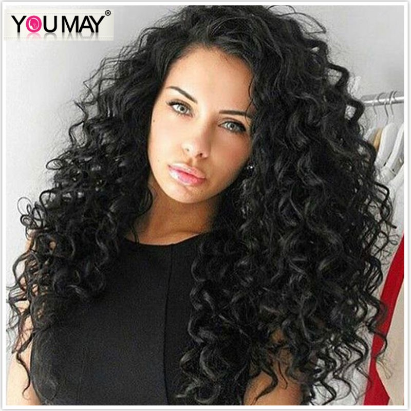 360 Lace Wigs With Natural Hairline 180 Density Loose Curly Wig Black Hair