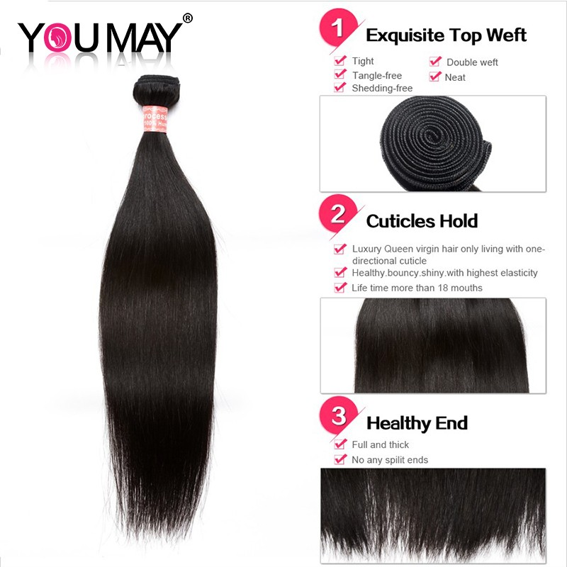 Straight 360 Lace Virgin Hair With 2 Bundles Human Hair Extensions