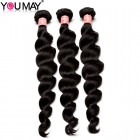 Brazilian Loose Wave Hair Bundles With 4*4 Lace Closure Natural Black Hair