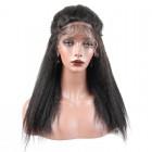 Kinky Straight 250% High Density  Italian Coarse Yaki Lace Front Wig