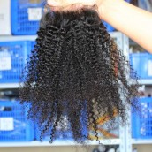 Brazilian Virgin Hair Afro Kinky Curly Free Part Lace Closure 4x4inches Natural Color