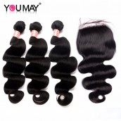 Body Wave 3 Bundles With 4*4 Lace Closure Human Hair Extensions With Black Hair Color