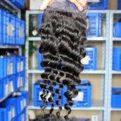 Brazilian Virgin Hair Deep Wave Free Part Lace Closure 4x4inches Natural Color