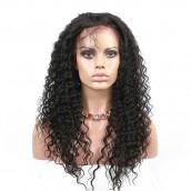 Brazilian Virgin Hair Deep Wave Full Lace Wigs Pre Plucked Wig